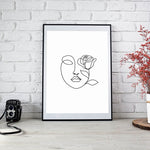 minimalist line art face rose woman print