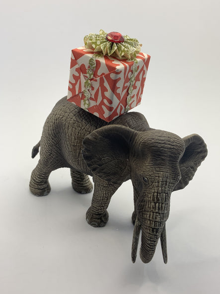Holiday Elephant with Christmas Gift
