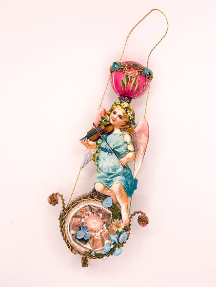 Embellished Vintage Christmas Ornament, Cherub Plays Violin