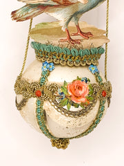Embellished Vintage Christmas Ornament, Cherub and Pigeon