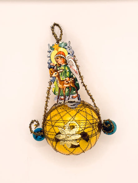 Embellished Vintage Christmas Ornament, Girl with Doe