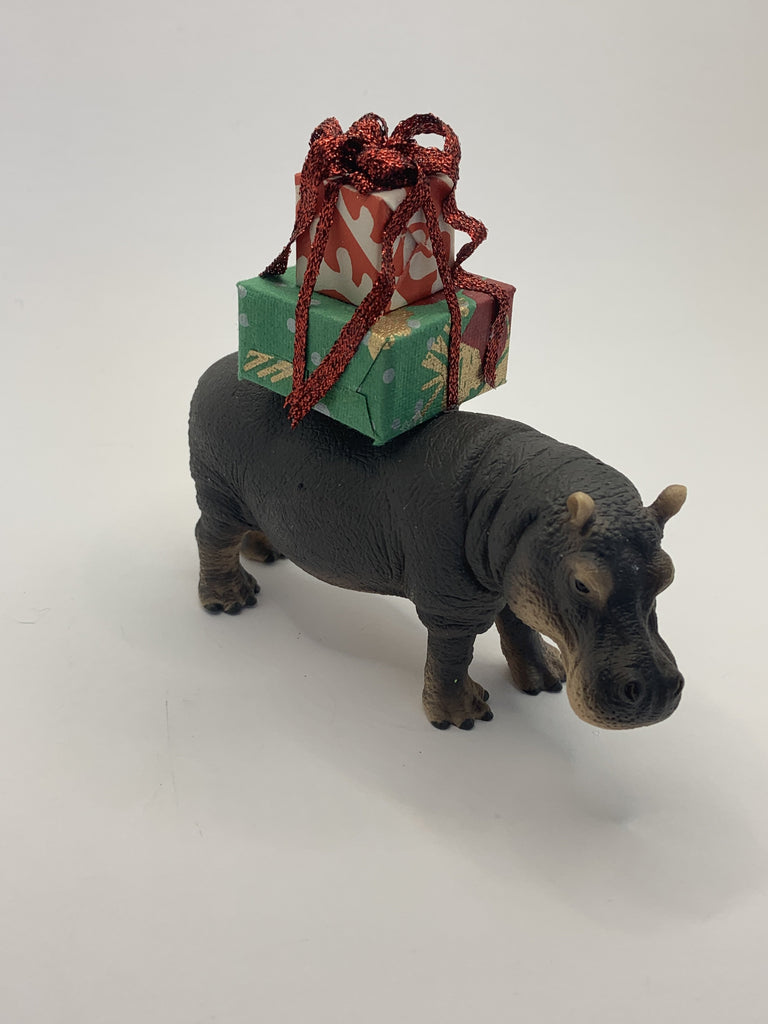 Holiday Hippo with Christmas Gift
