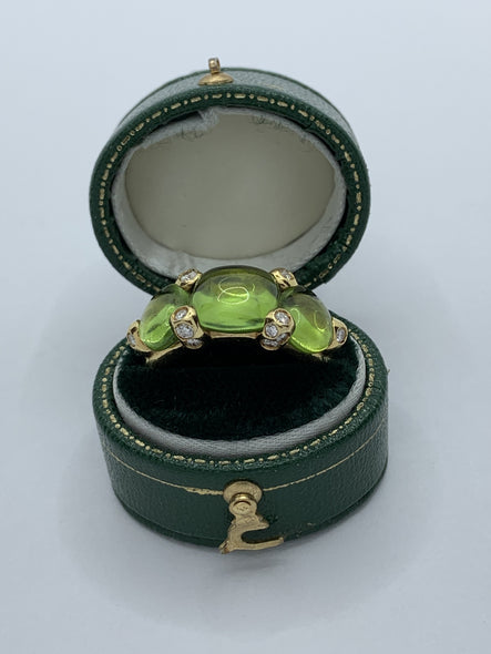 Pomellato Sassi 18k Gold Peridot and Diamond Ring