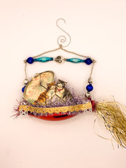 Embellished Vintage Christmas Ornament, Two Cats and an Umbrella