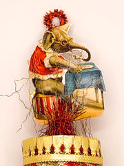 Embellished Vintage Christmas Ornament with Elephant Eating Dinner