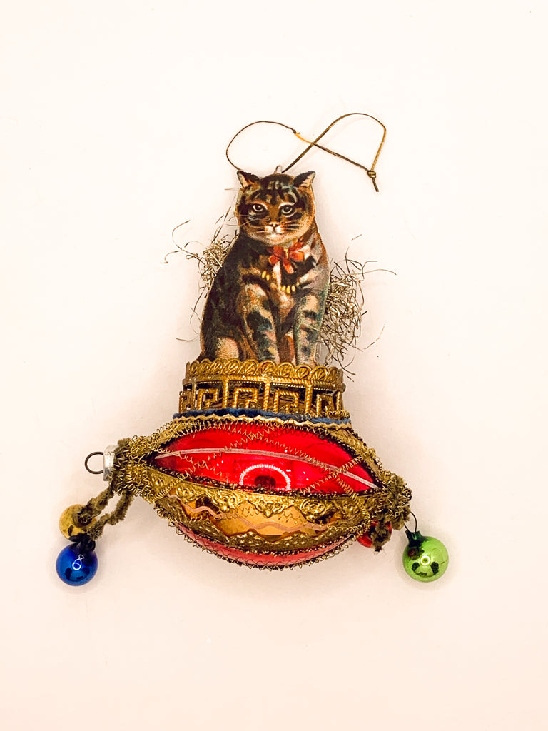 Embellished Vintage Christmas Ornament, Holiday Kitty