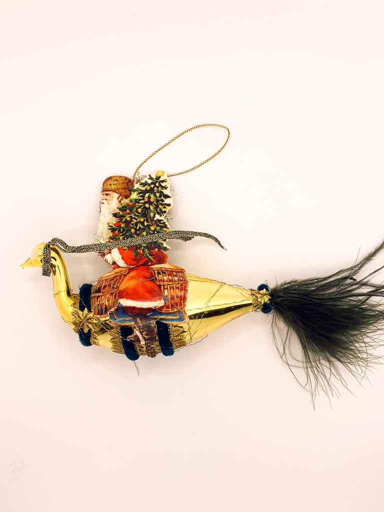 Embellished Vintage Christmas Ornament, Santa Rides In