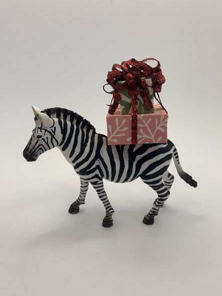 Holiday Zebra with Christmas Gift