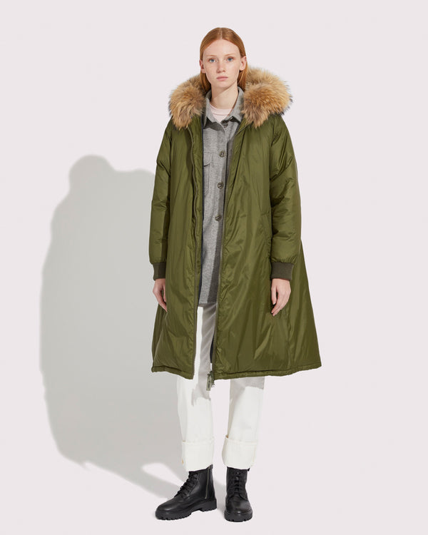 Padded nylon long coat with asiatic raccoon fur