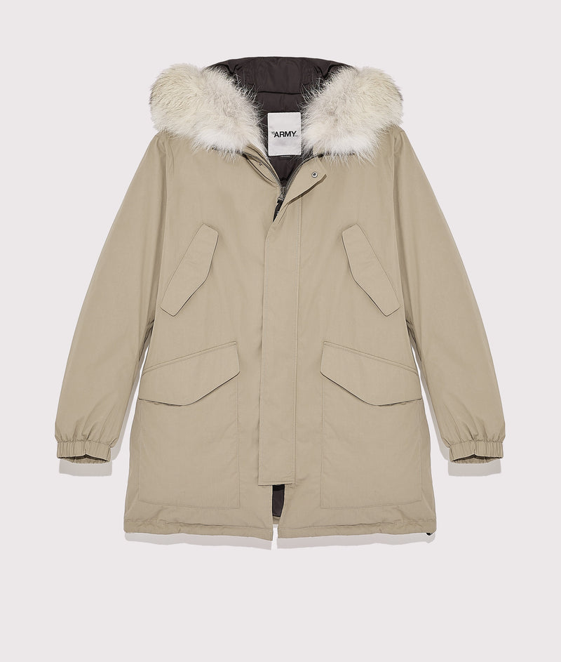 Cotton parka with quilted lining and coyote fur hood