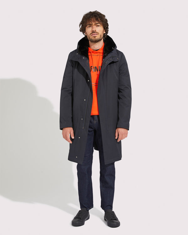 Classic long parka with mink fur lining