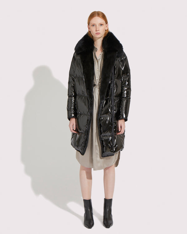 Down-jacket in mink and fox furs