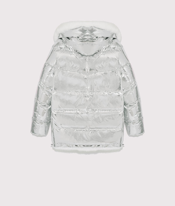 Reversible silver down-jacket