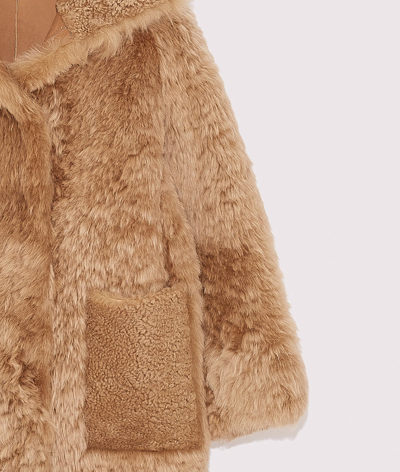 Oversize shearling coat