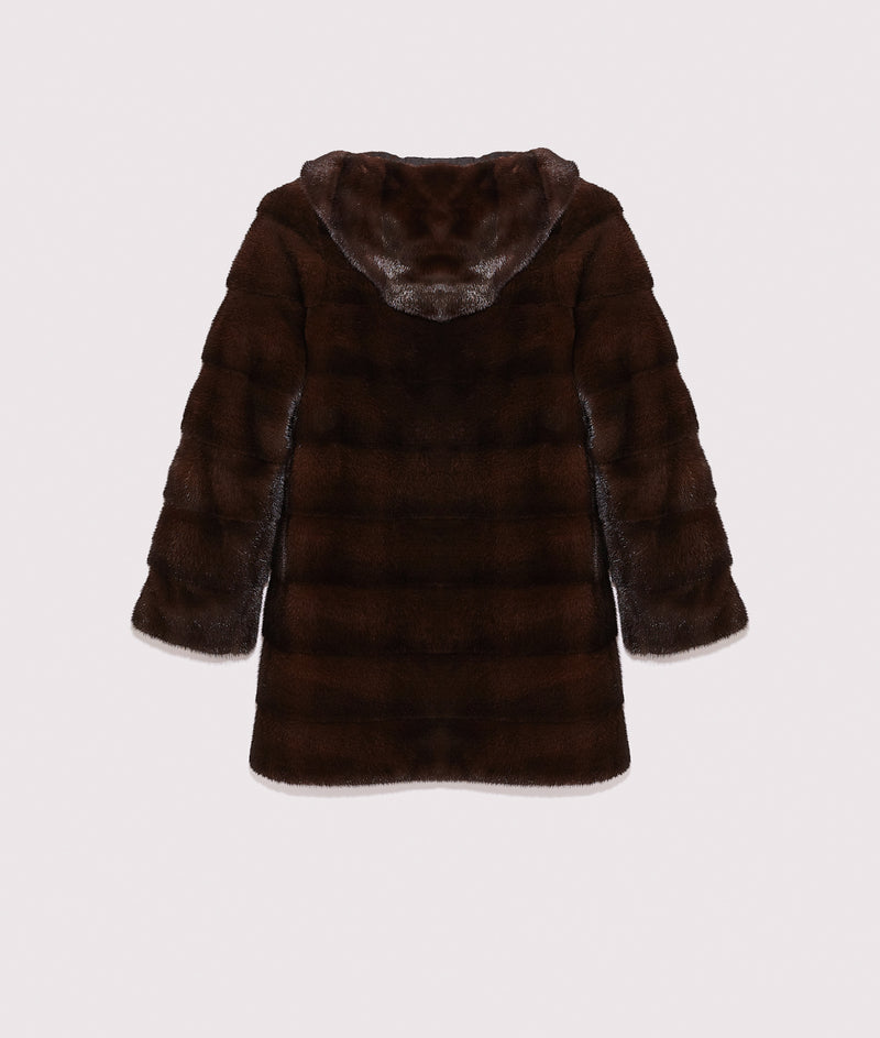 Reversible coat in mink fur