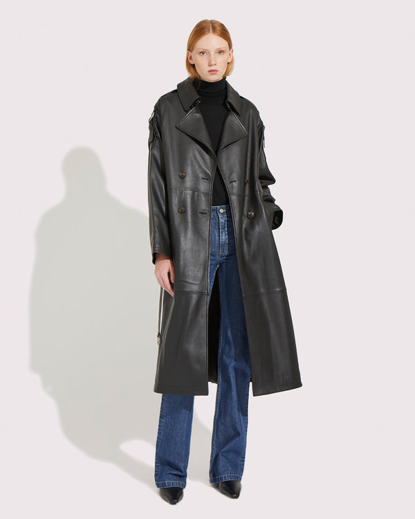 Oversize leather trench coat
