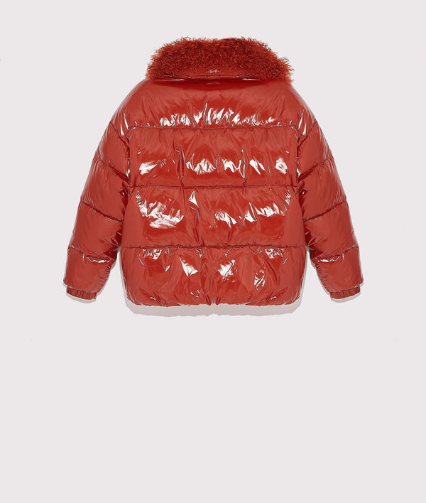 Short patent down jacket