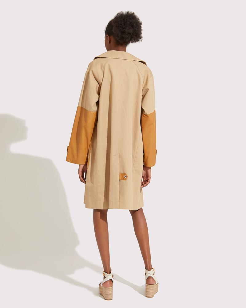 Long two-material coat