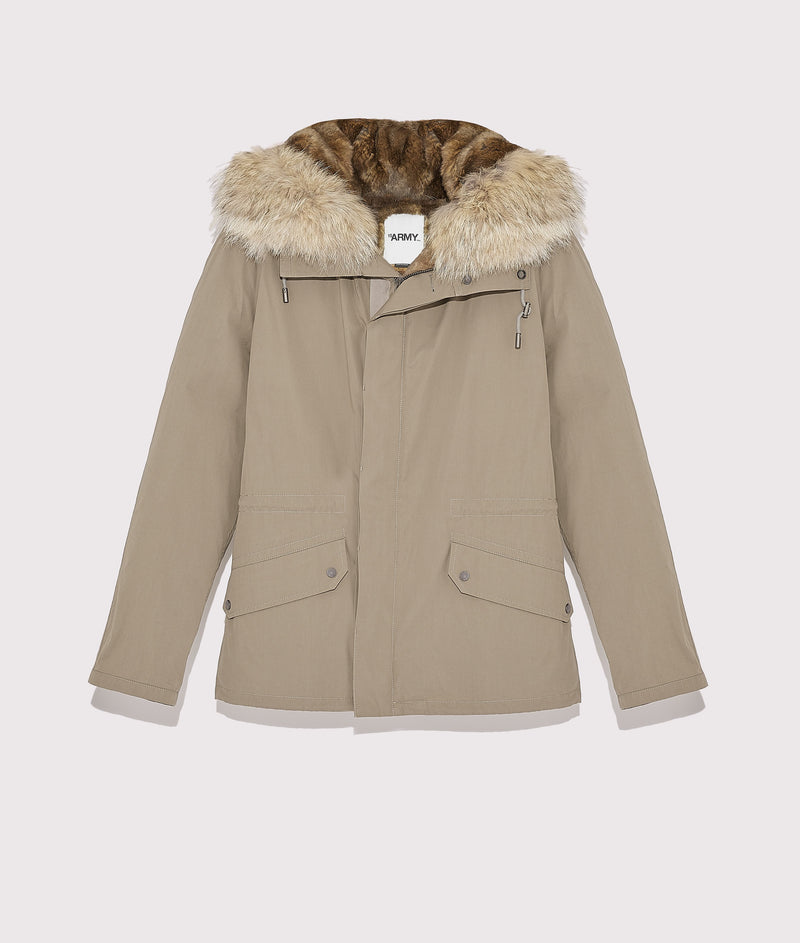 Short parka in cotton and rabbit fur