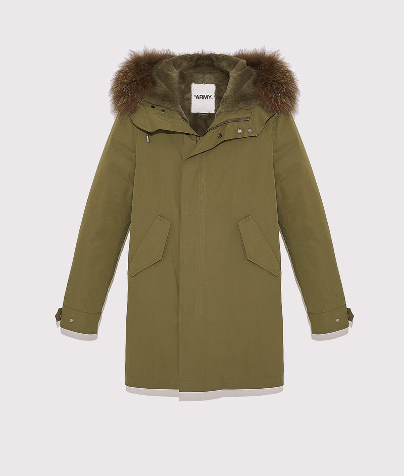 Long classic parka with rabbit and fox furs