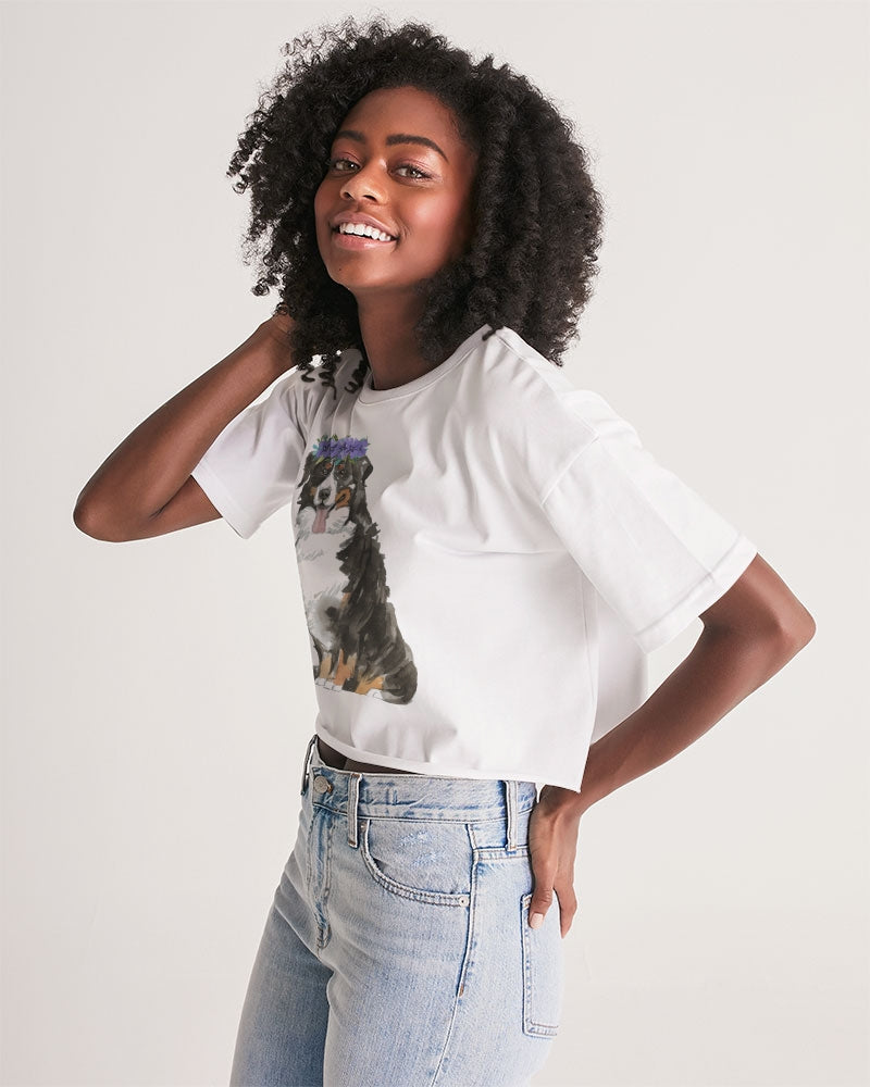 Bernese Mountain Dog with Flower Crown Lounge Cropped Tee