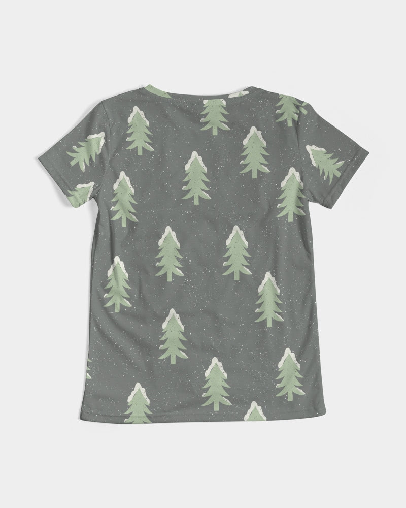 Frosty Cedar Trees Women's V-Neck Tee
