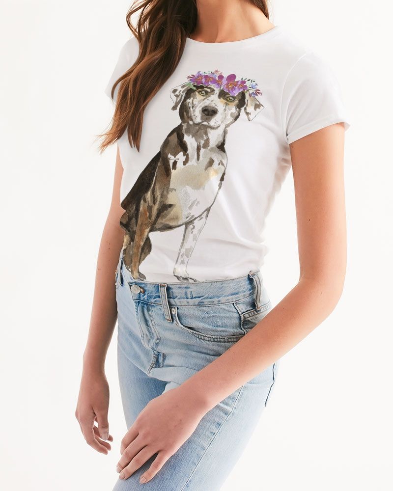 Catahoula Leopard with Flower Crown Tee