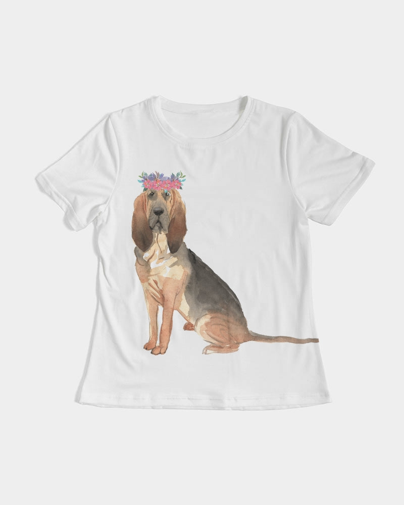 Bloodhound with Flower Crown Tee