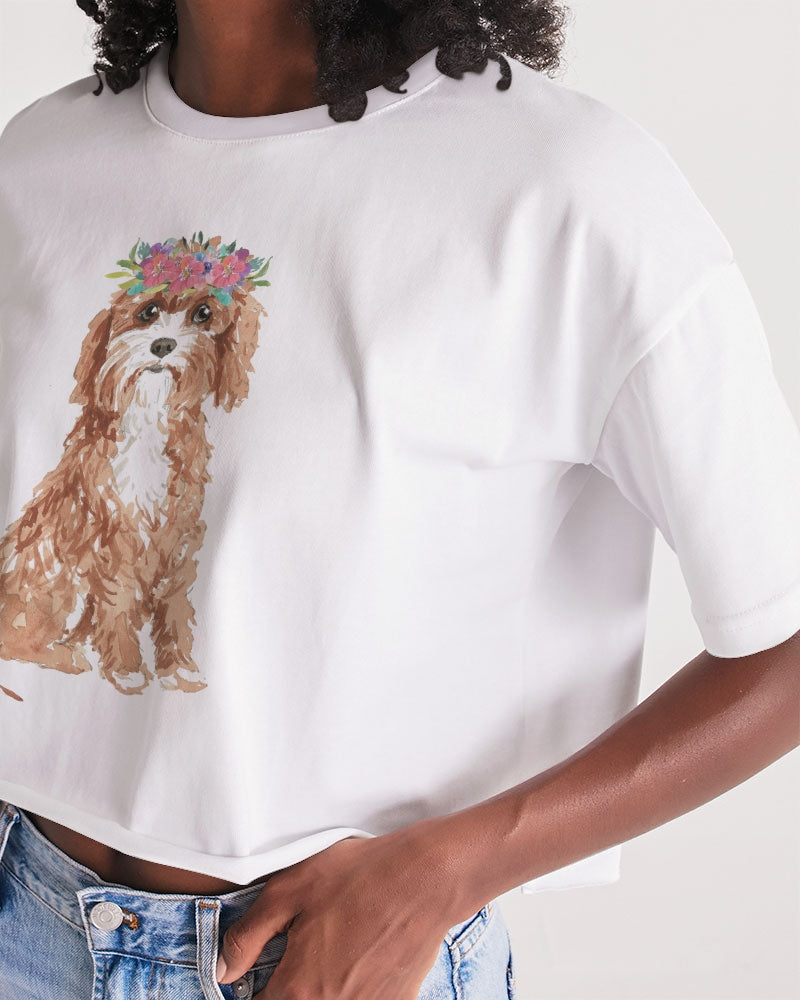 Cavapoo with Flower Crown Lounge Cropped Tee