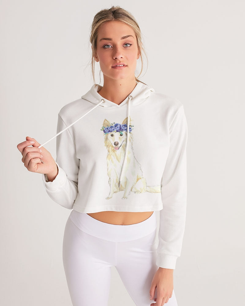White Collie Women's Cropped Hoodie
