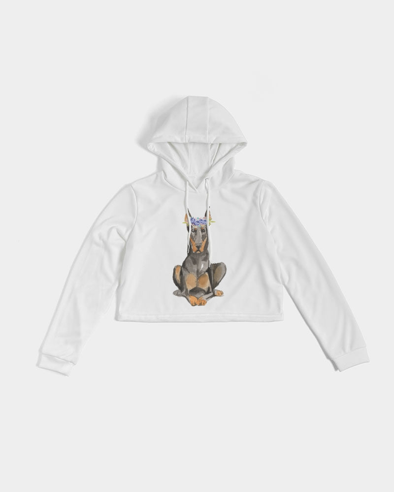 Doberman with Flower Crown Women's Cropped Hoodie
