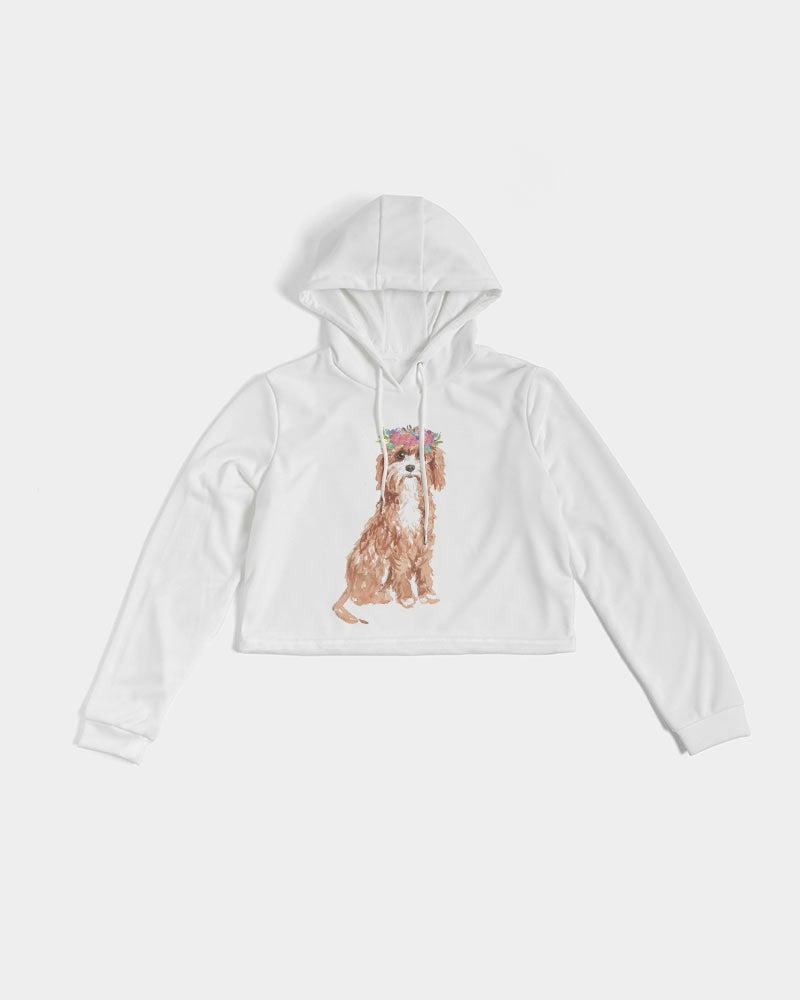 Cavapoo with Flower Crown Cropped Hoodie