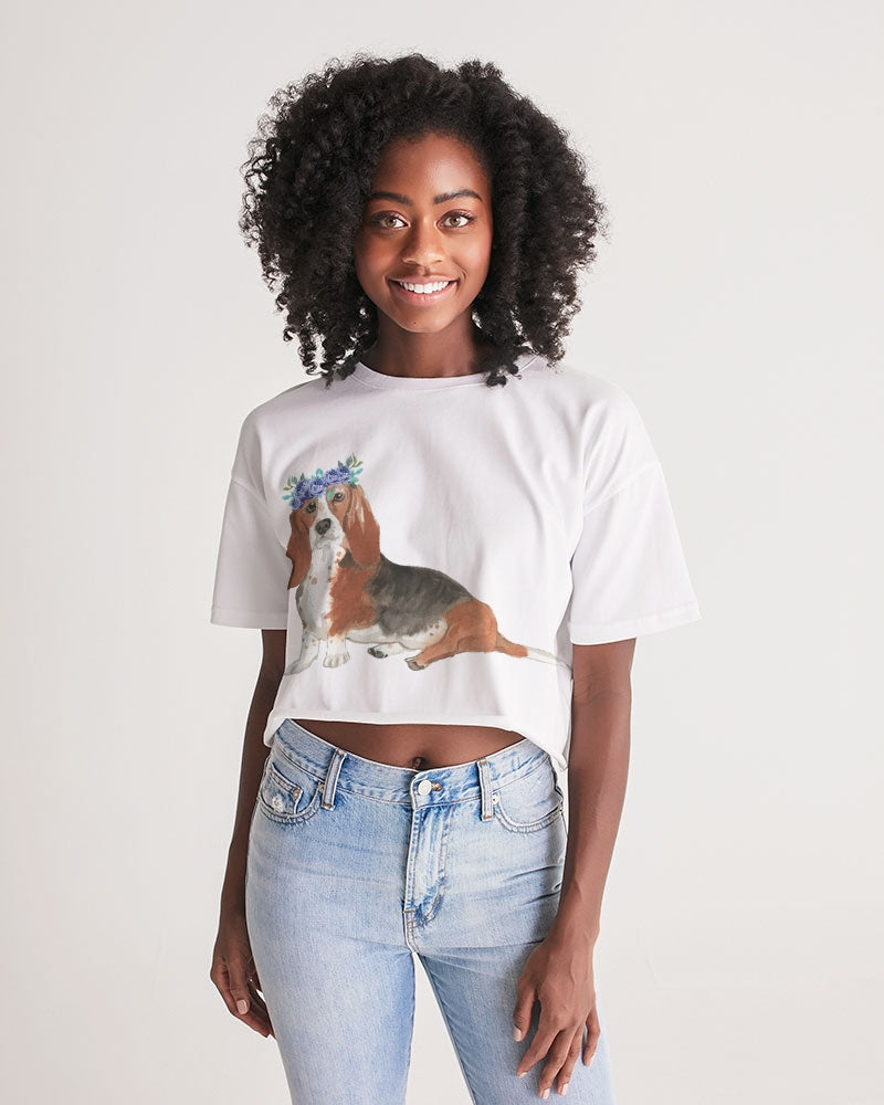 Basset Hound with Flower Crown Lounge Cropped Tee