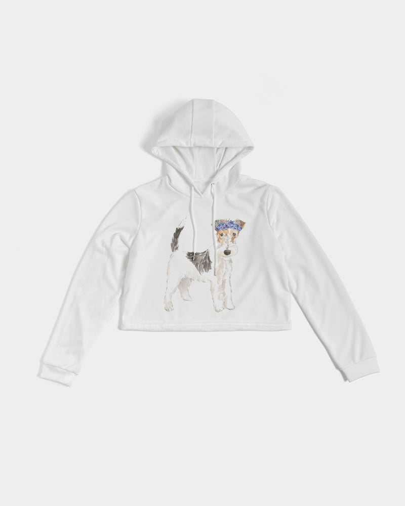 Wirehaired fox terrier Women's Cropped Hoodie