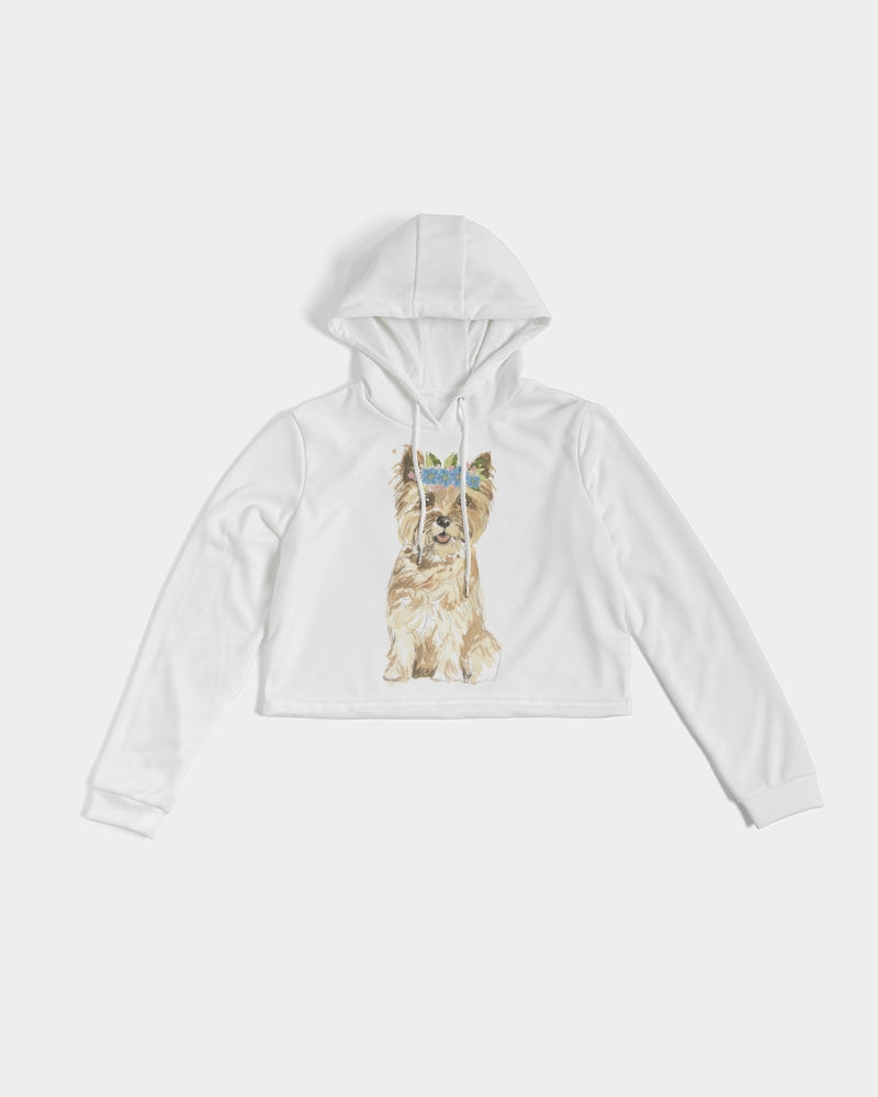 Cairn Terrier with Flower Crown Cropped Hoodie