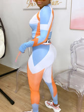 Load image into Gallery viewer, Women's 2 Piece Bodycon Sports wear Orange, White and Blue