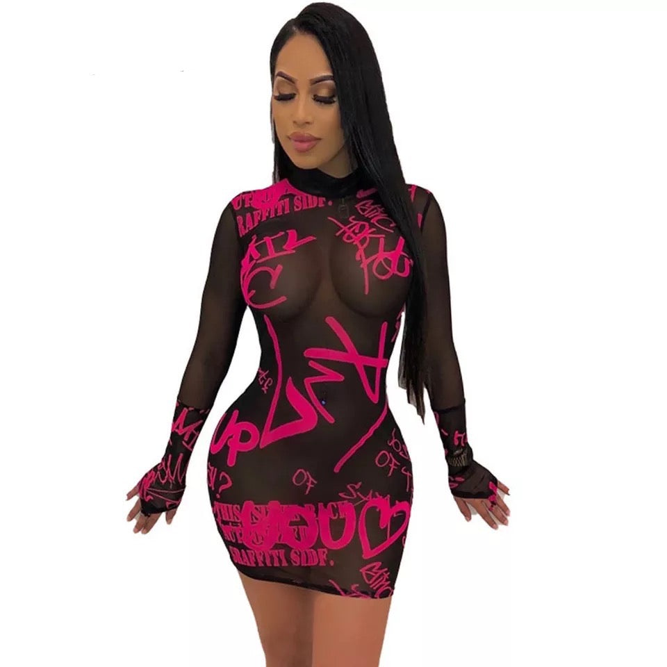 Wholesale Street Sexy See-Through Long Sleeve Bodycon Dress