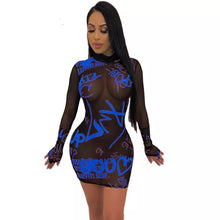 Load image into Gallery viewer, Wholesale Street Sexy See-Through Long Sleeve Bodycon Dress