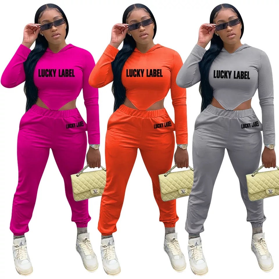 Women's Lucky Label 2 piece Hooded Sweat Suit