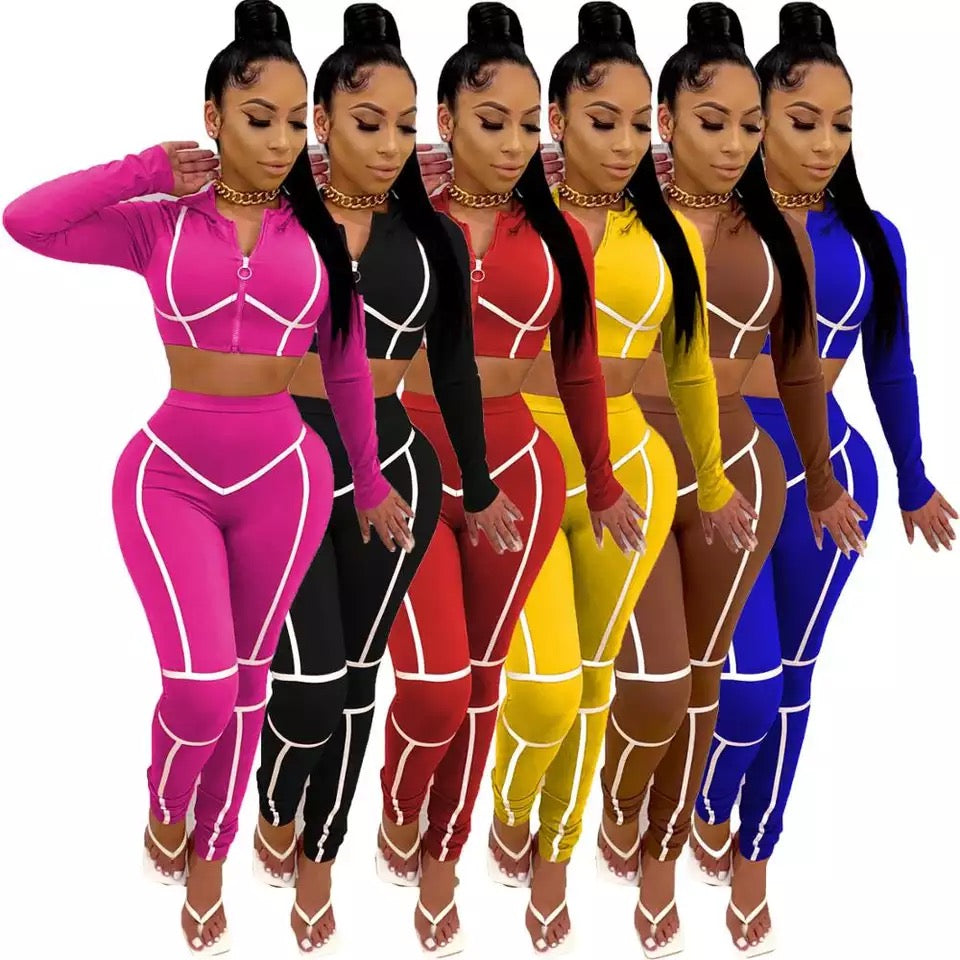 Sports Suit Hooded Zipper Tops Jogger Sweatpant Two Piece Set Activewear Sweatsuit Matching Sets Fitness Outfits