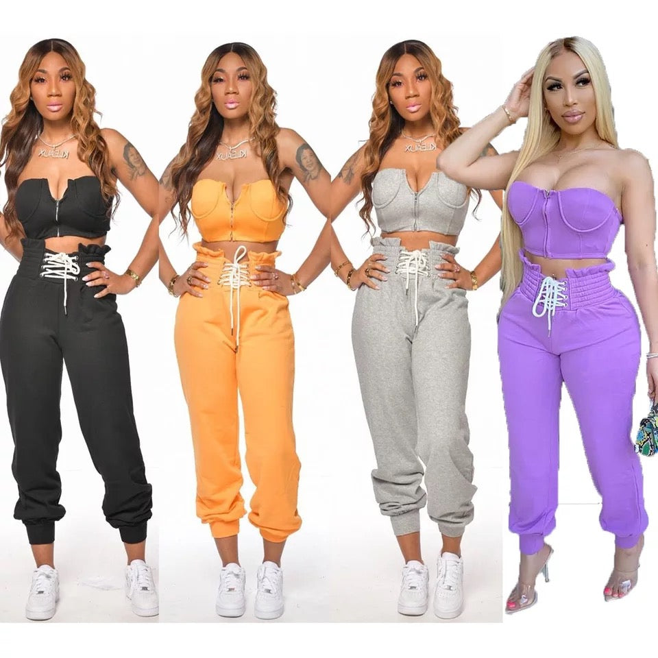 Summer Women Sets Tracksuits Slim Strapless Skinny Crop Top & Pants Suit Two Piece Set Night Club Outfits Street
