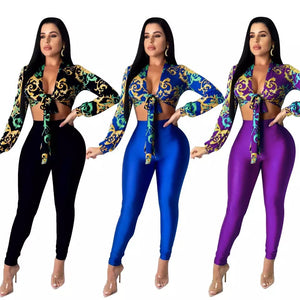 Printed Two Piece Set Women Long-sleeved V-neck Sportswear + Pants Tracksuit Fitness Tracksuit 2PCS Streetwear
