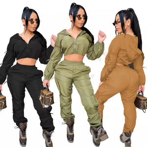 Women'S Slim Fit Sportswear Set Autumn Fashion Long Sleeve Hoodie & Joggers Shorts Streetwear