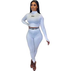 White Women;s stretch 2 piece bodycon body long sleeve outfit