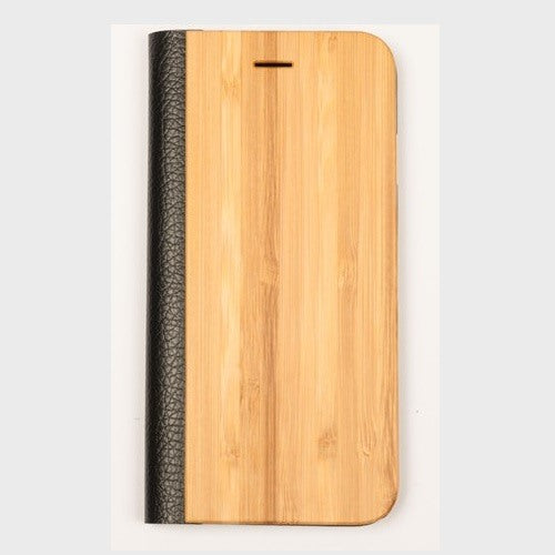 Bamboo Wood + Leather Wallet Flip Case For Samsung S6