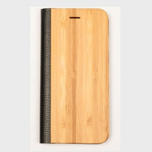 Bamboo Wood + Leather Wallet Flip Case For iPhone 5-5S-SE