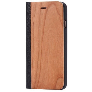 Cherry Wood + Leather Wallet Flip Case For iPhone X