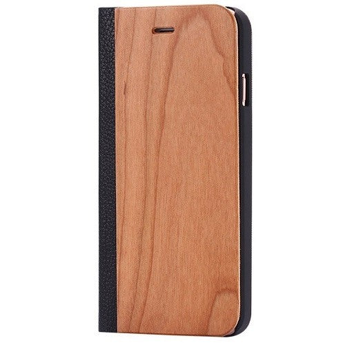 Cherry Wood + Leather Wallet Flip Case For iPhone 6 Plus - 6s Plus