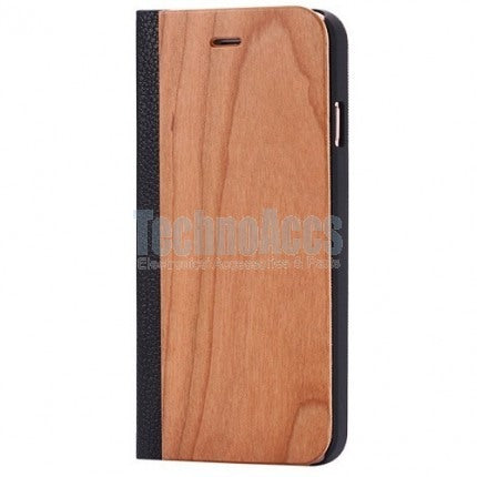 Cherry Wood + Leather Wallet Flip Case For Samsung S8