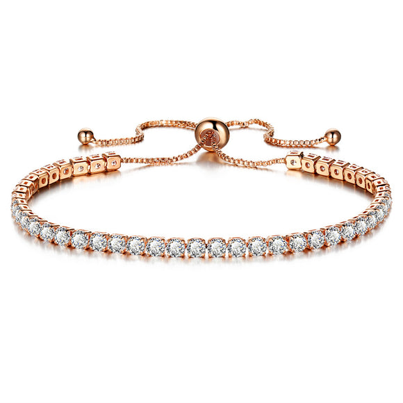 White Color Crystal Bracelet Gold/Silver Plated Adjustable Crystal Tennis Bracelets Women Stretch Bracelet
